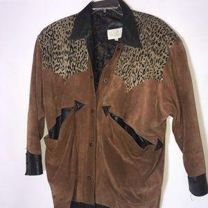 Vintage 80's Rare 100% leather Leather Cheetah